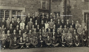William Bishop (grandfather of Lesley Rogers – who kindly sent us this image) is seated third from left on the front row. We understand he was initially an ironstone miner but then moved to the Dorman