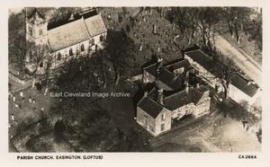 An aerial view of Easington Church